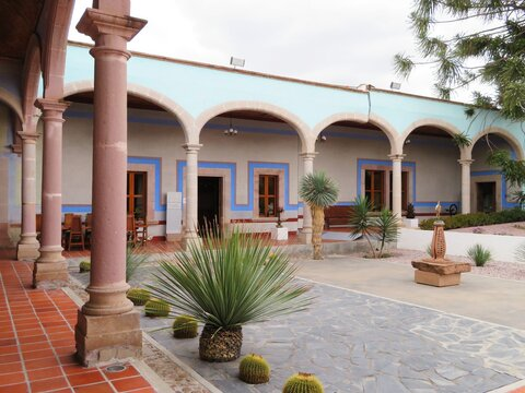 courtyard of the colonial Mexican manor