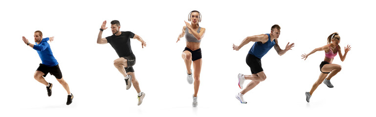 Fototapeta Development of motions of young athletic fit men and women in action isolated over white background. Flyer. obraz