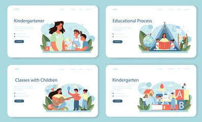 Obraz Kindergartener web banner or landing page set. Professional nany and children. - fototapety do salonu