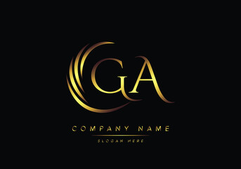 Fototapeta alphabet letters GA monogram logo, gold color elegant classical obraz