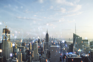 Abstract virtual wireless technology hologram on New York city skyline background. Big data and database concept. Multiexposure