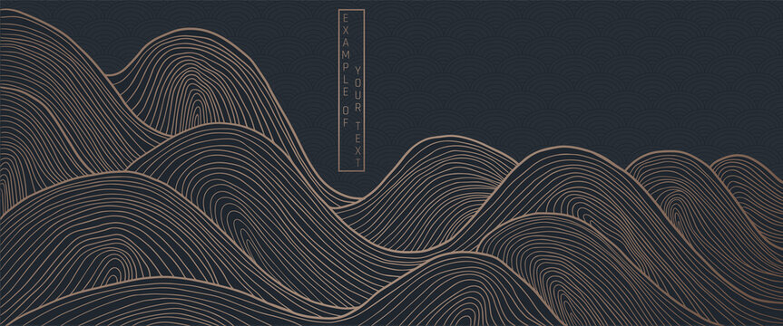 vector abstract japanese style landscapes lined waves in black and gold colours