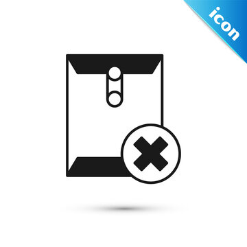 Grey Delete envelope icon isolated on white background. Delete or error letter. Cross on message. Rejected mail. Vector