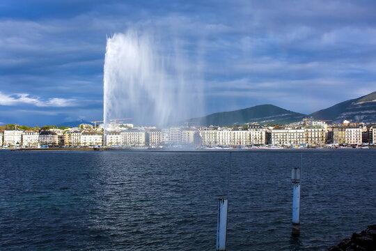 Geneva water fountain. The highest such fountain in the world, switzerland
