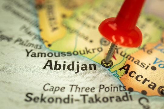 Location Abidjan in Ivory Coast or Cote D'ivoire, map with push pin close-up, travel and journey concept with marker, Africa