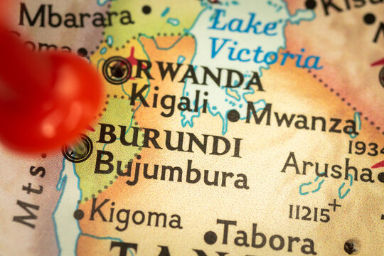 Location Burundi and Bujumbura, map with push pin close-up, travel and journey concept with marker, Africa