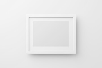 Obraz Rectangular wall picture photo frame mockup in white background, Banner or poster template, 3d render. - fototapety do salonu