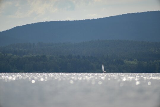 The largest Czech Lake Lipno is a popular tourist destination in the Czech Republic.