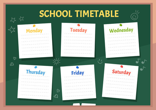 School timetable or class schedule on green classroom chalkboard with sticker notes for all subjects! Vector children illustration for school or kindergarten.