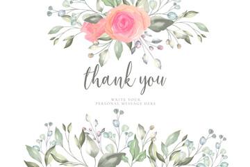 Fototapeta floral thank you card template design vector illustration obraz