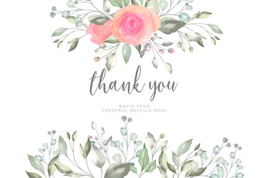 floral thank you card template design vector illustration