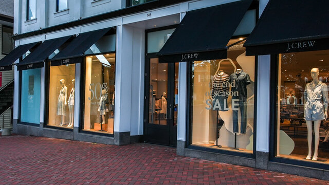 J.Crew store entrance view from Main Street in down town area