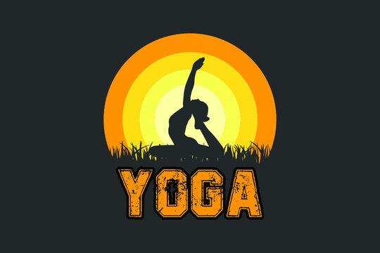 T-Shirt Design, Yoga T-shirt Vector silhouette, T-shirt Vector For Print, Yoga cool t-shirt design,Typography t-shirt design template.