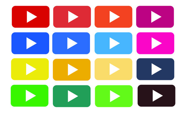 Play button,set,vector,icon,colors,video,youtube,white background,動画,再生ボタン,アイコン-マーク,セット
