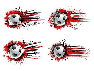 Obraz Soccer football sport grunge banners. Flying soccer ball, red and black paint splashes, drops and traces, grungy background with halftone and stars. Team sports tournament banner with paint smudges - fototapety do salonu