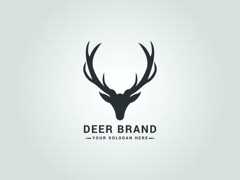 deer head silhouette logo template