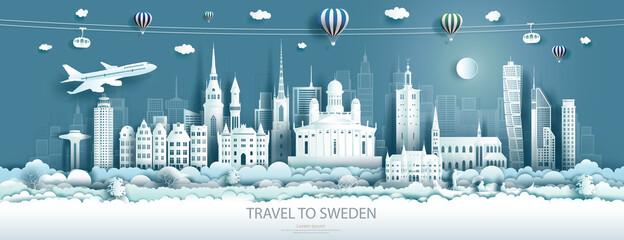 Fototapeta Travel landmarks europe to Sweden tour famous architecture to stockholm obraz