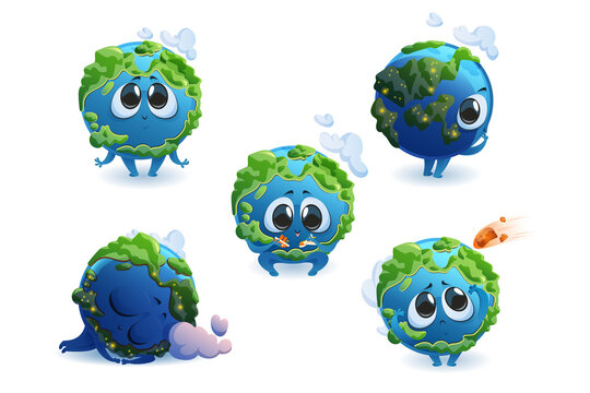 Cute planet Earth character with different emotions isolated on white background. Vector set of cartoon funny Earth smile, sleep, play with plane and ship, scared by meteorite. Creative emoji set