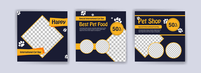 Fototapeta international Cat day. Pet shop square banner template. Promotional Banner for social media ads, web ads, business messages, discount flyers and big sale banners. obraz