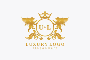 Obraz Initial UL Letter Lion Royal Luxury Logo template in vector art for Restaurant, Royalty, Boutique, Cafe, Hotel, Heraldic, Jewelry, Fashion and other vector illustration. - fototapety do salonu