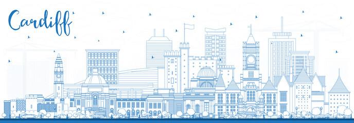 Fototapeta Outline Cardiff Wales City Skyline with Blue Buildings. obraz