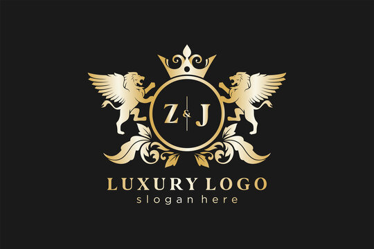 Initial ZJ Letter Lion Royal Luxury Logo template in vector art for Restaurant, Royalty, Boutique, Cafe, Hotel, Heraldic, Jewelry, Fashion and other vector illustration.