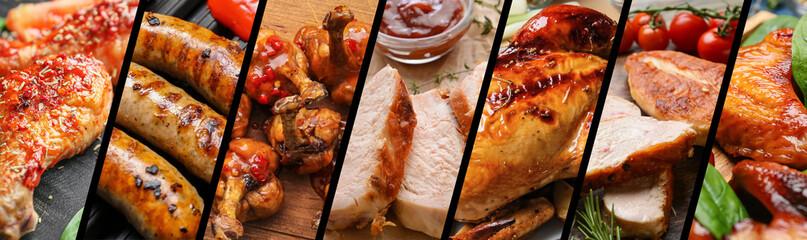 Fototapeta Set of tasty chicken dishes, closeup obraz