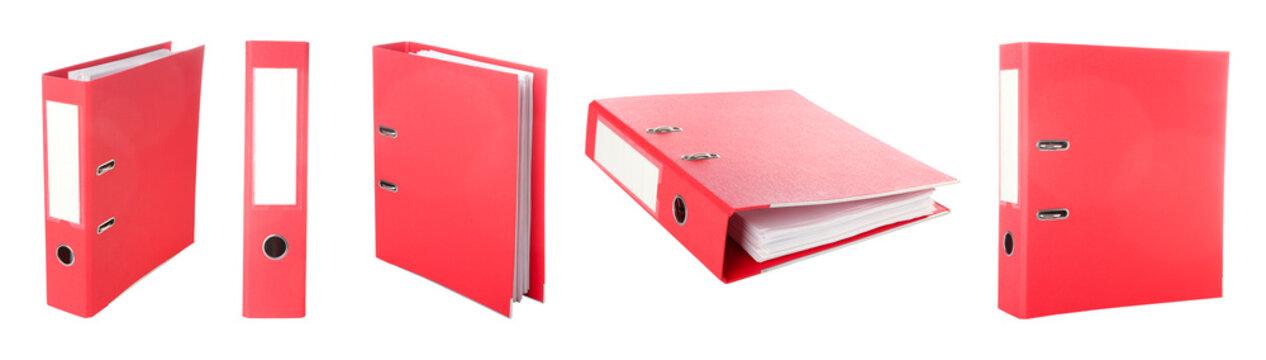 Red office folder on white background