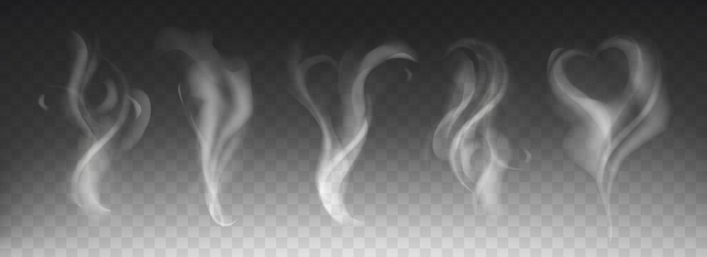 Steam smoke realistic set with heart and swirl shape on dark transparent background. White fume waves of hot drink, coffee, cigarettes, tea or food. Mockup of flow mist swirls. Fog effect concept.