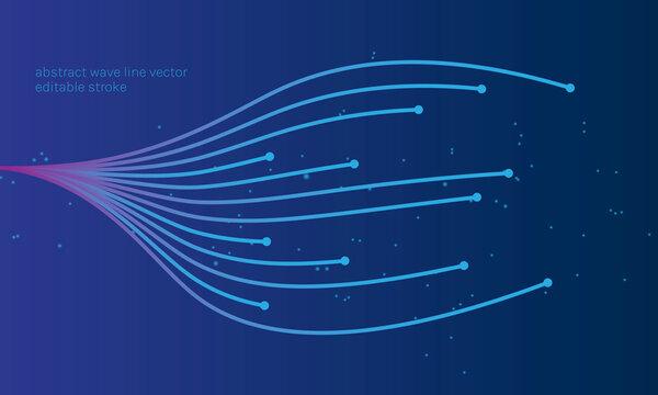 Abstract technology waves line vector stroke ai bigdata internet background illustration