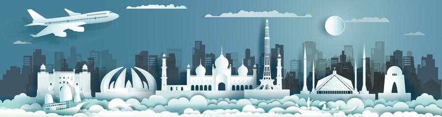 Fototapeta Travel landmark Pakistan with ancient monument and modern building, skyline. obraz