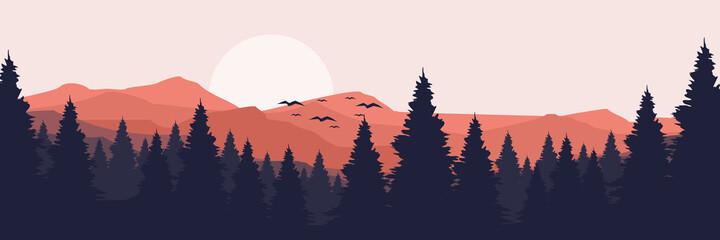 Fototapeta moonrise in mountain landscape vector illustration design for wallpaper design, design template, background template, and tourism design template obraz