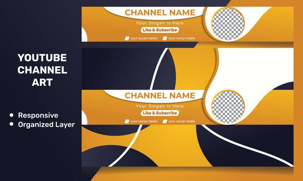 Modern Responsive Youtube Banner Template. Modern youtube channel art. Youtube Banner Design.