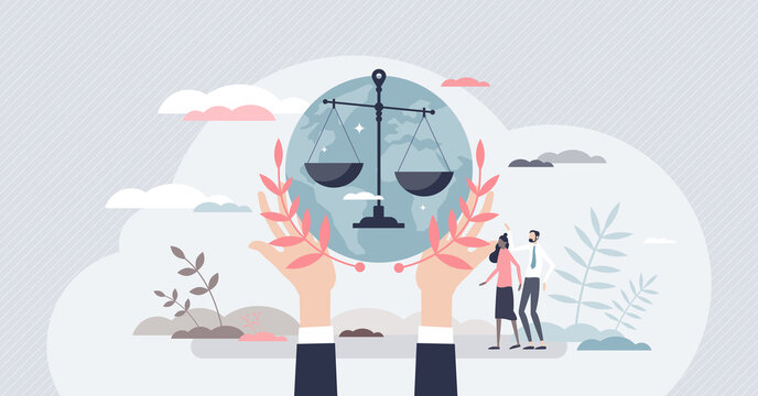 Social justice, equality and solidarity to all community tiny person concept. Gender discrimination, racism, and prejudice awareness with public honesty and tolerant peace movement vector illustration