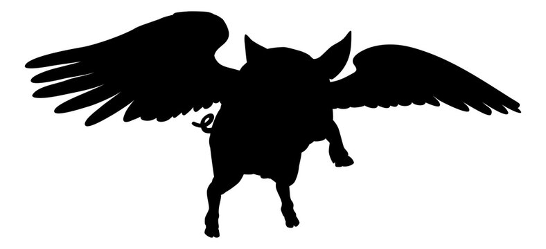 Flying Pig Wings Silhouette Saying Pigs Might Fly