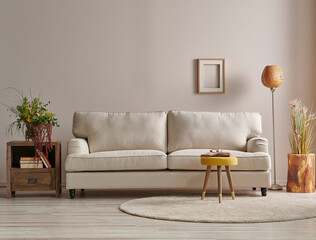 Obraz Modern sofa in the light wall concept with lamp and carpet design. - fototapety do salonu