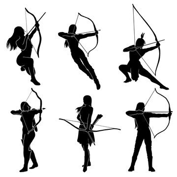 female archer warrior action pose silhouette