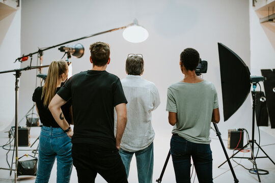 Production team working together in a studio
