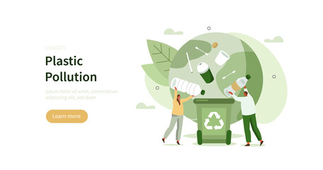 Obraz People characters collecting plastic trash into recycling garbage bin. Woman and man taking out the garbage. Plastic pollution problem concept. Flat cartoon vector illustration.  - fototapety do salonu