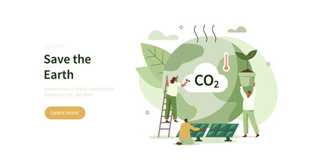Obraz People trying to save planet earth from climate change. Characters planting trees, using clean energy, warning about CO2 emission.  Climate change problem concept. Flat cartoon vector illustration. - fototapety do salonu