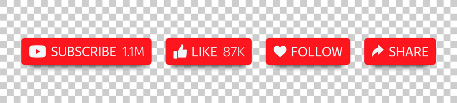 YouTube buttons set for social media and channel. Flat buttons (Subscribe, Like, Follow, Share) with shadow isolated on transparent background. Vector illustration EPS10
