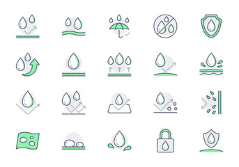 Obraz Waterproof line icons. Vector illustration include icon - shield, hydrophobic material, membrane, umbrella, oleophobic outline pictogram for anti water protect. Green color, Editable Stroke - fototapety do salonu