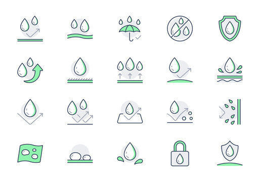 Waterproof line icons. Vector illustration include icon - shield, hydrophobic material, membrane, umbrella, oleophobic outline pictogram for anti water protect. Green color, Editable Stroke