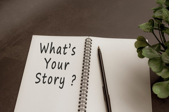What is your story text on notebook with dark background