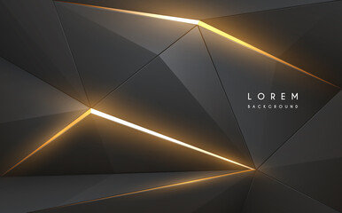 Abstract grey geometric background with golden light elements