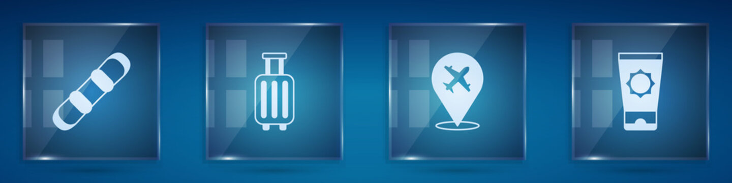 Set Snowboard, Suitcase, Plane and Sunscreen cream in tube. Square glass panels. Vector