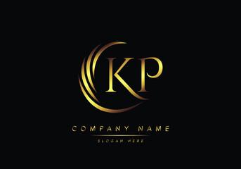 Obraz alphabet letters KP monogram logo, gold color elegant classical - fototapety do salonu