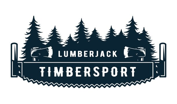 Lumberjack wood log with rings and saw for logo and emblem of carpenter. Timber or lumber with hacksawfor t-shirts print design of axeman, woodsman
