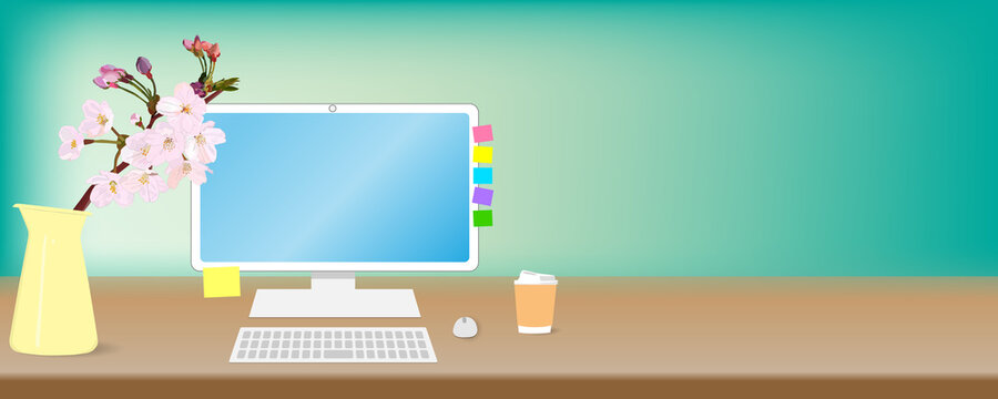 Cherry blossoms on the desk, desktop PC, keyboard and mouse. mock up, vector illustration, copy space, web header, banner, graphic,