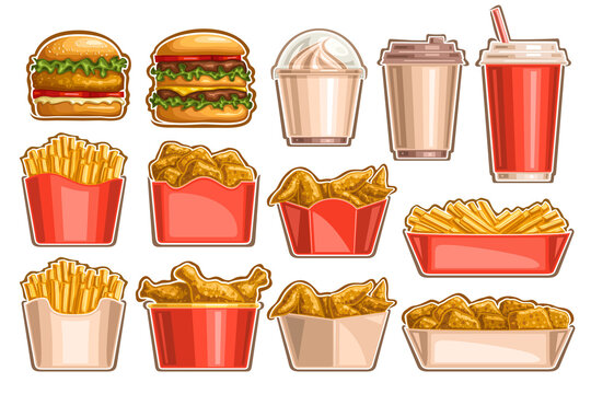 Vector Fast Food Set, lot collection of cut out illustrations tasty burgers, dessert in plastic container, takeaway beverages, french fries in cardboard package and roasted chicken legs in big bucket.
